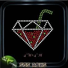 Diamond shape juice glass hot fix rhinestone design