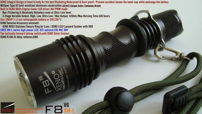 Police use, Tactical LED Flashlight,XENO F8
