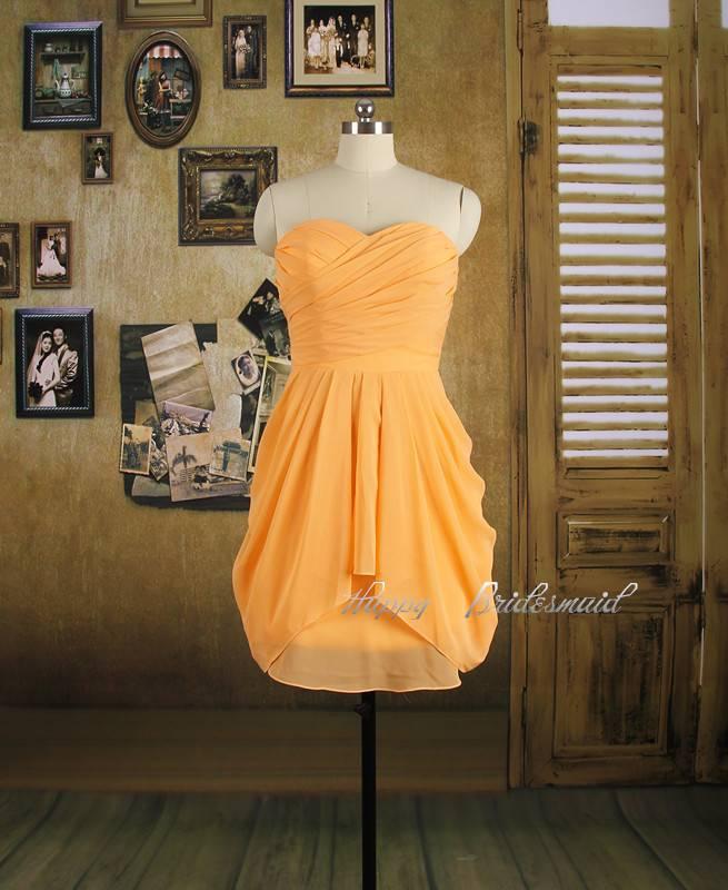 Peach Short Bridesmaid Dress, Chiffon Pleating Bridesmaid Dress, Prom Dress