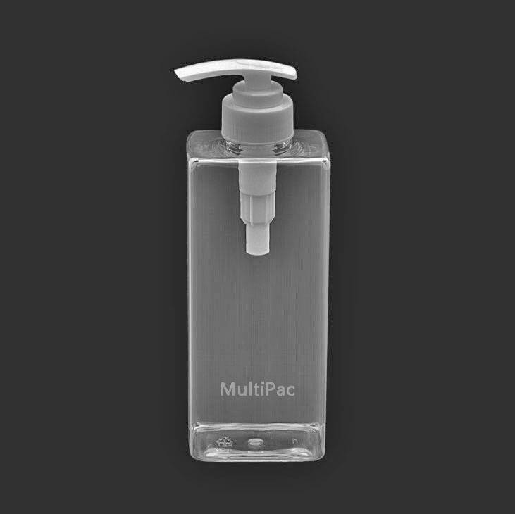 500ml flat square PET bottle with dispenser pump, for shampoo conditioner body lotion