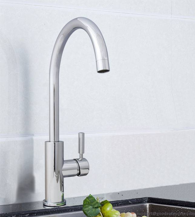 Single handle gooseneck kitchen faucet