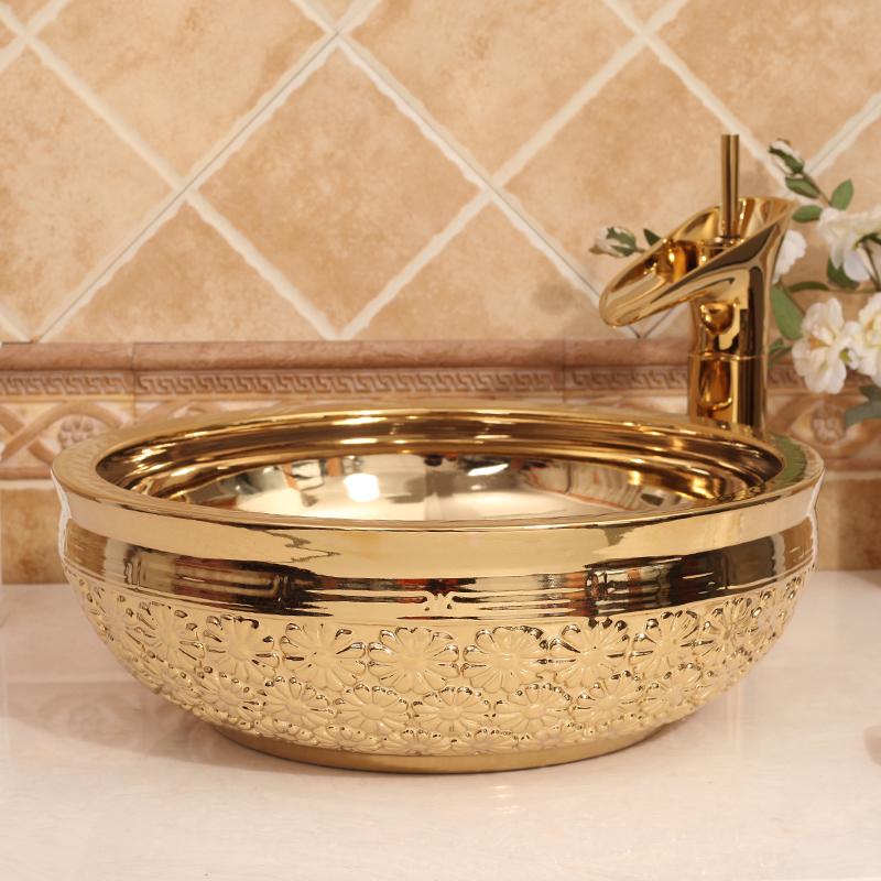 Modern Artistic Bathroom Round Single Hole Ceramic Vanity Wash Basin Sinks Porcelain Countertop
