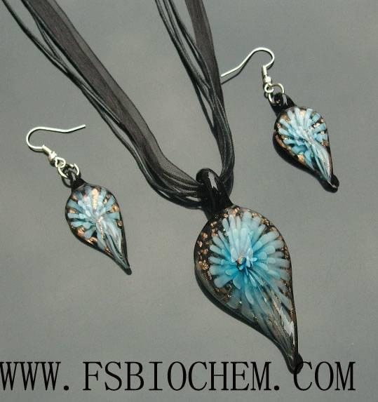 lampwork glass pendant necklace earrings sets, Murano glass Pendant Necklace Earring Jewelry Set