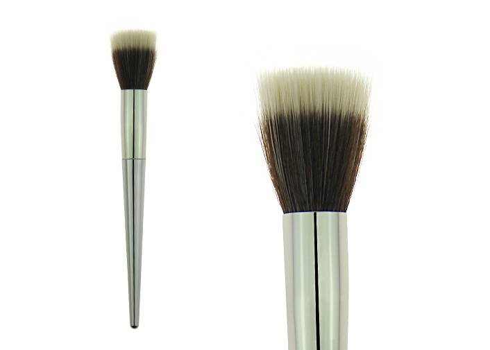Flat Top Bronzer Makeup Brush With Synthetic Hair Metal Ferrule White Plastic Handle