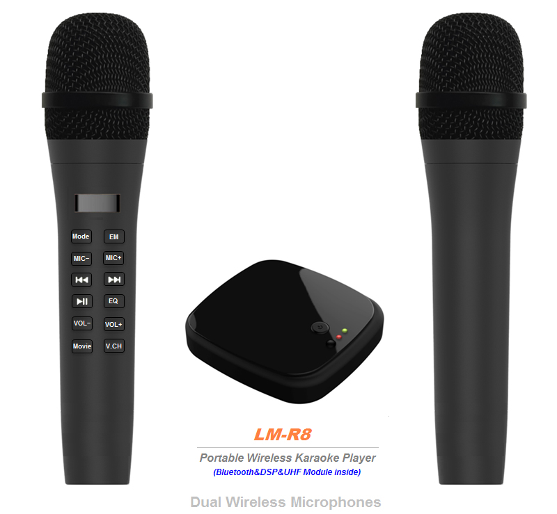 Portable wireless karaoke palying box with microphone