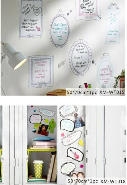 Various Shape Printed Home Decorative Wall PP/PVC Whiteboard Sticker