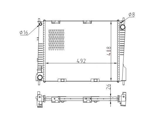 Renault radiator OEM NO. 8200468913/8200468931 Nissens 67283
