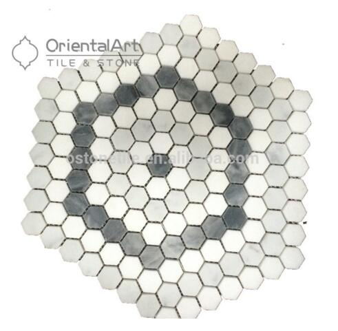 White and grey marble mosaic 3d hexagon floor tile