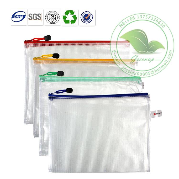 Eco-friendly Frosted Translucent Laminated PVC Zipper Document Bag