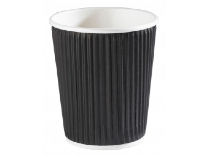 8oz Black Ripple Wall Paper Cup for Coffee