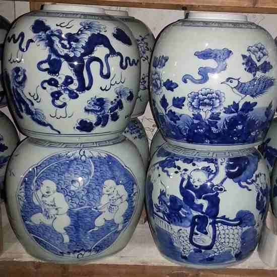Blue and White Flat Top Lidded Jars