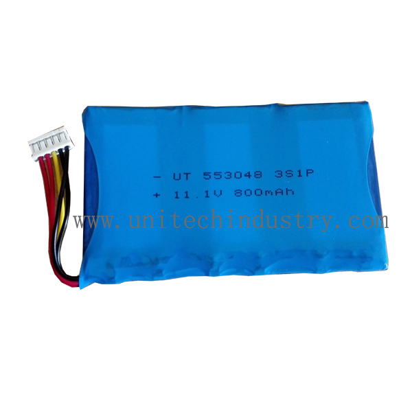 Rechargeable lipo battery pack 553048 800mAh 11.1V 3S1P custom battery pack