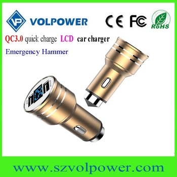 2017 new products W06 LCD display Dual port QC3.0 car charger with Emergency hammer