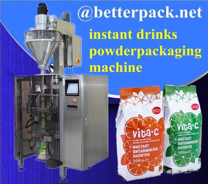 instant drinks powder big plastic pouch forming filling sealing machine