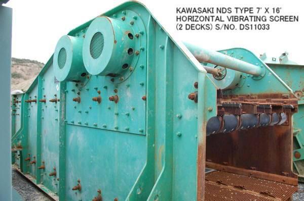 USED KAWASAKI NDS TYPE 7' X 16' HORIZONTAL VIBRATING SCREEN (2 DECKS) S/NO. DS11033 WITH MOTOR.
