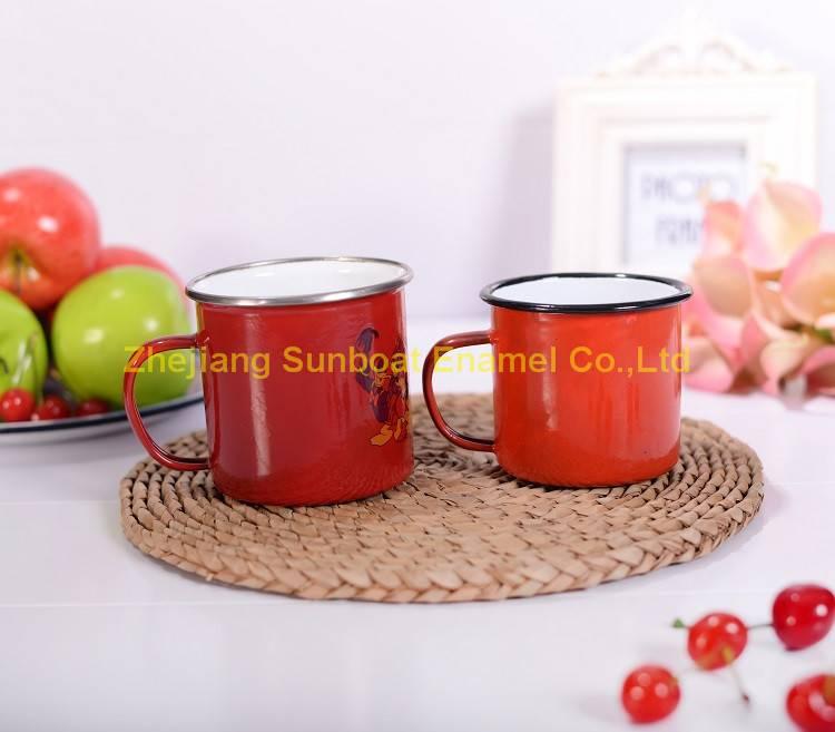 customized logo printed enamel travel mug