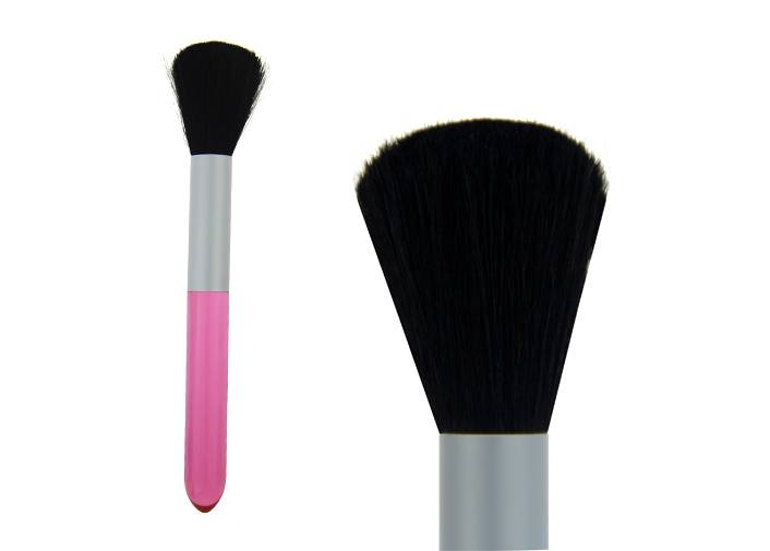 Conical Black Goat Hair Contour Blush Brush Grey Metal Ferrule Red Plastic Handle