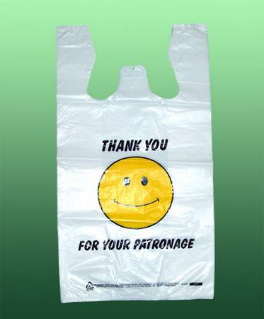 HDPE White Plastic T-Shirt Retail grocery bag