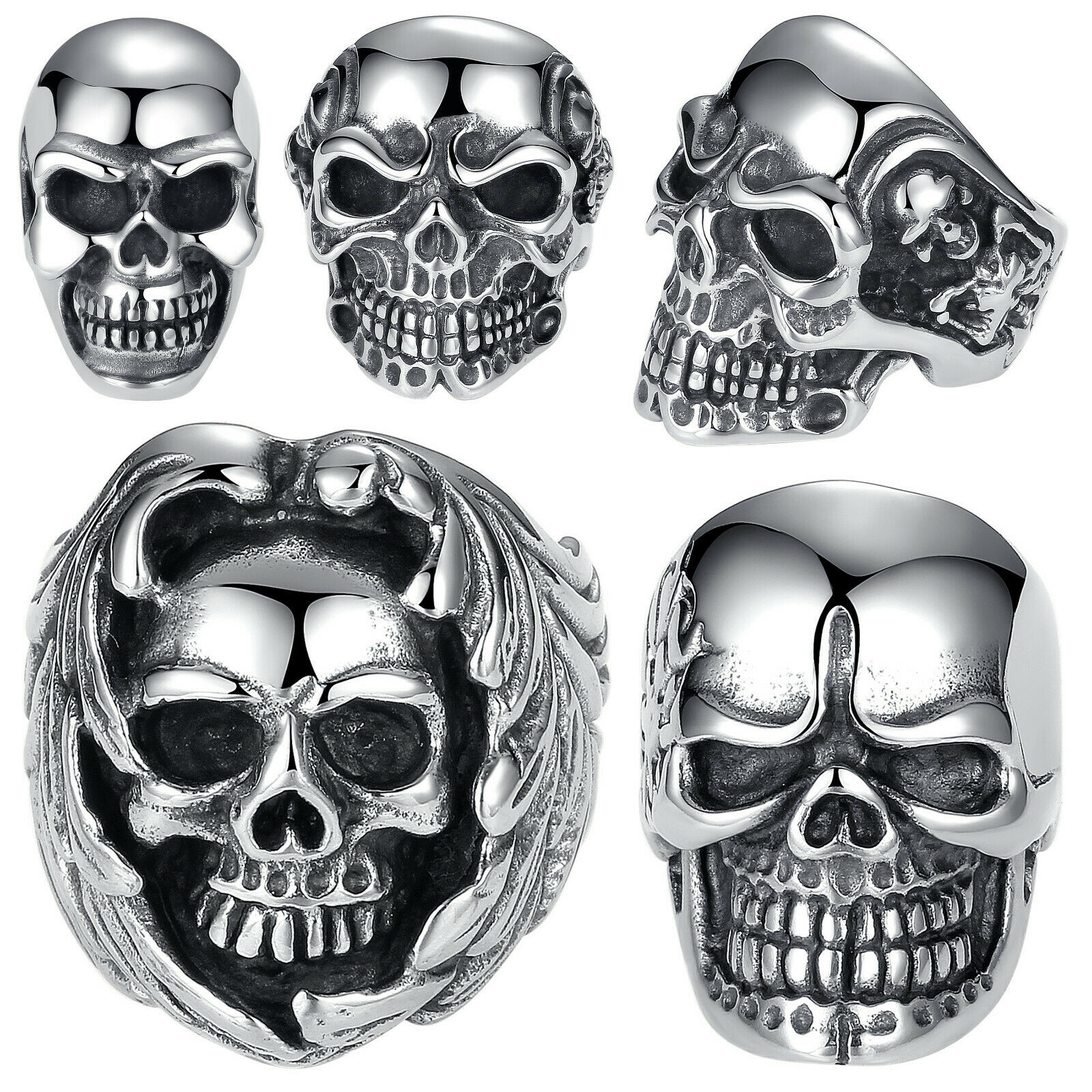Punk Skull Vintage Ring For Men Steampunk Retro Hollow Stainless Steel Rings Gothic Male Jewelry
