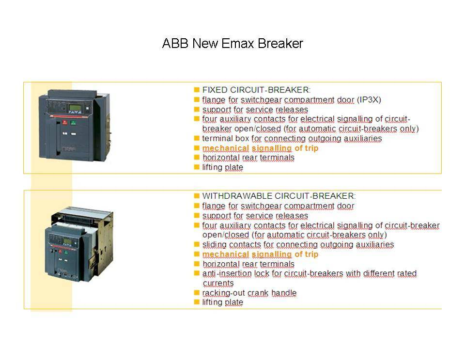 ABB New Emax air circuit breaker