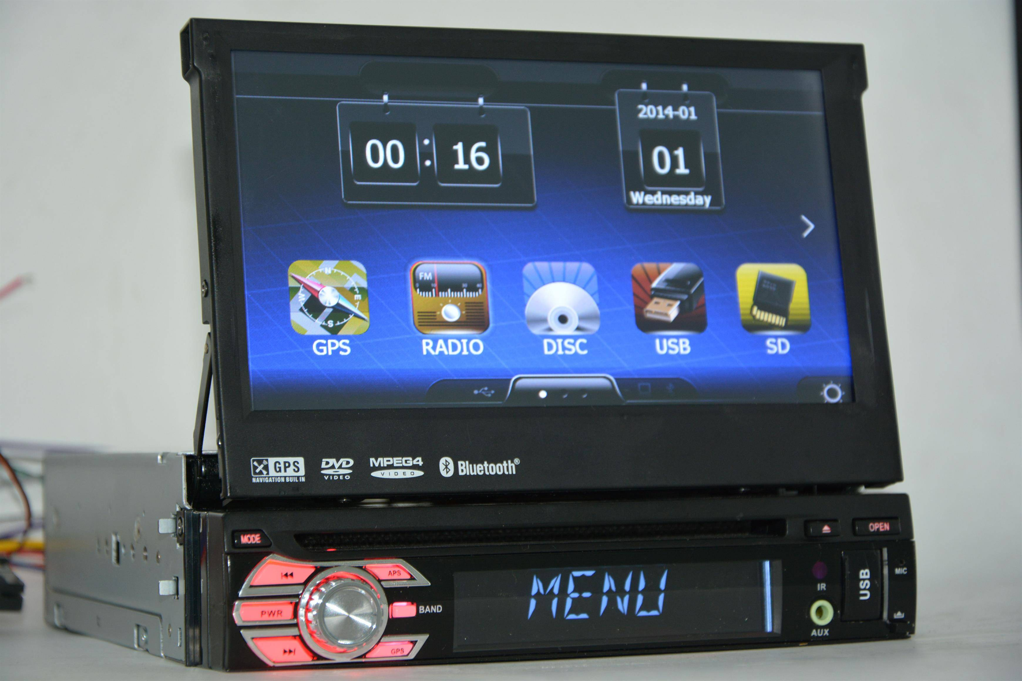 1-Din Universal Car DVD GPS + Bluetooth + iPod + Radio + USB/SD/Aux-Input, Motorized Slide-Down P