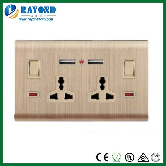 Golden Brushed Aluminum Wall Plate Double Universal Electrical Outlets with 2 USB Charging Ports