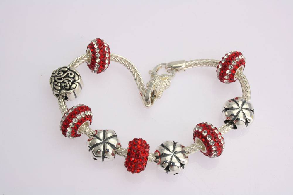 925 sterling silver charms bead bracelet 0795