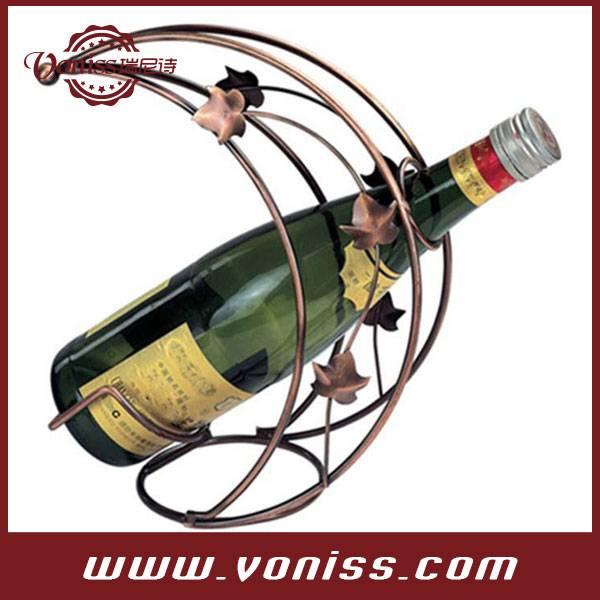 Home Decor Vintage Handmade European Classy Grape Vine Arbor Crescent Design Single Bottle Bronze To