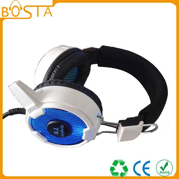 LED light gaming headset with USB and 3.5mm Jack
