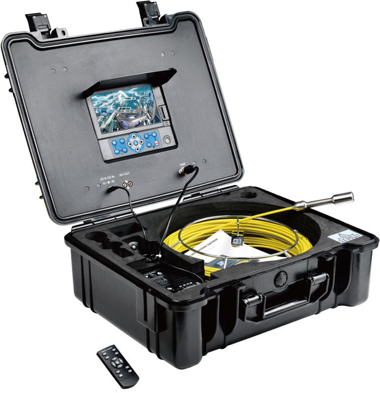 TVBTECH 3299F sewer camera with 60-12m fiberglass cable for pipe detection