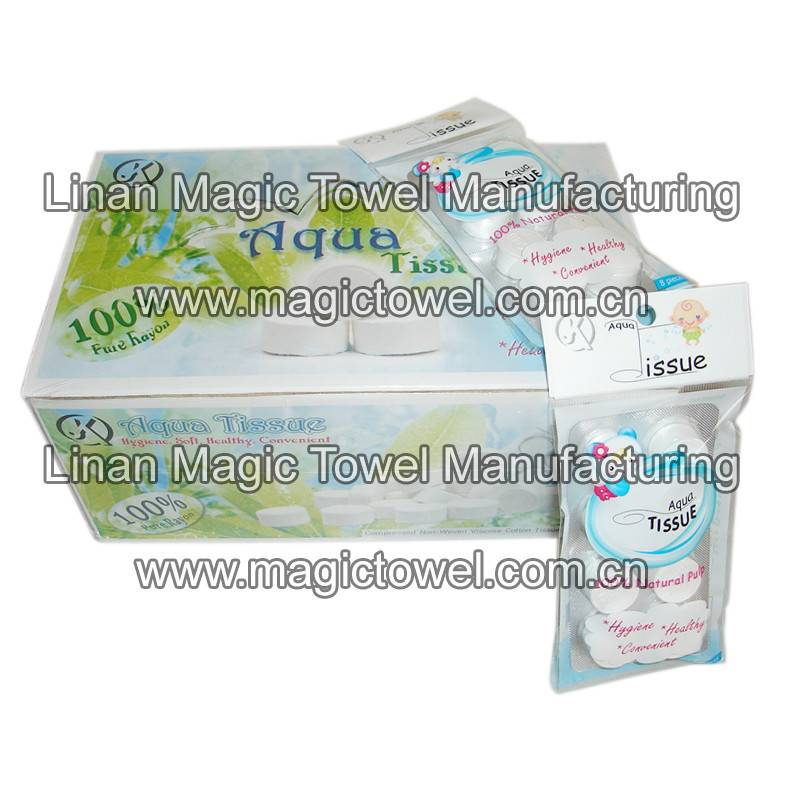 Mini tissue/compressed napkins/coin towel with blister packing