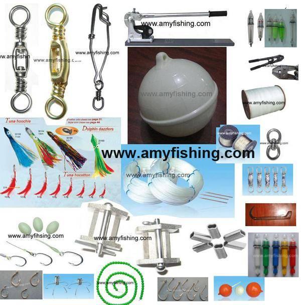 tuna fishing tackle, fishing float, tuna hook, die set, heavy duty crimper, tuna fishing line