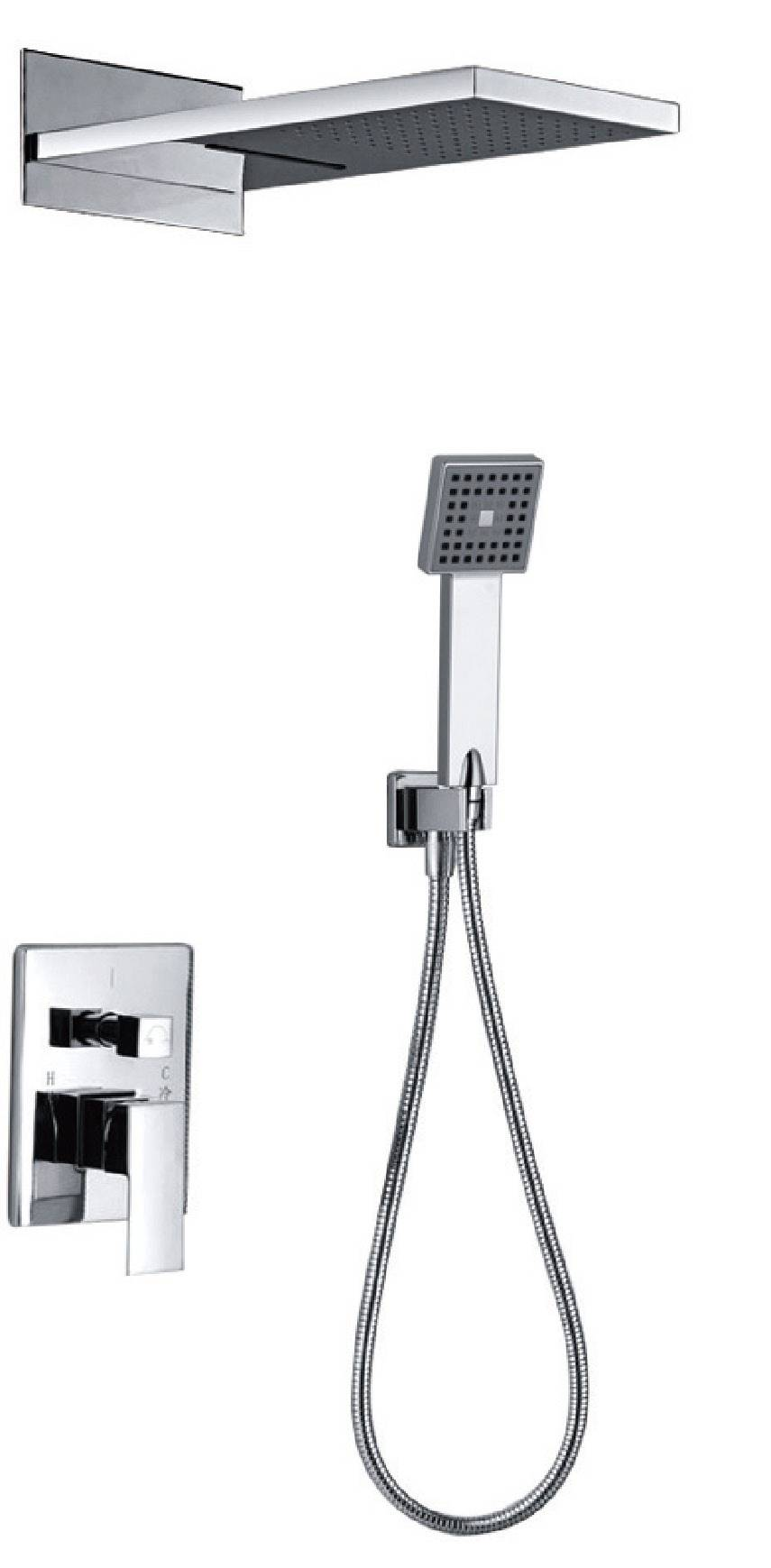 Modern chrome brass in-wall bathroom concealed shower mixer set