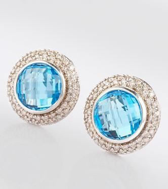 Sterling Silver Inspired DY10mm Blue Topaz Cerise Earrings