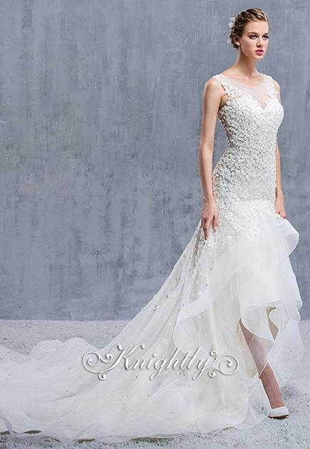 Sleeveless Sheer Lace Neckline Applique Sheath Waltz-Length Gown