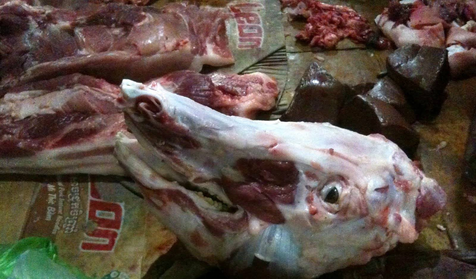 frozen cow feet and cow head