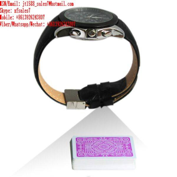 XF leather strap watch camera for poker analyzer