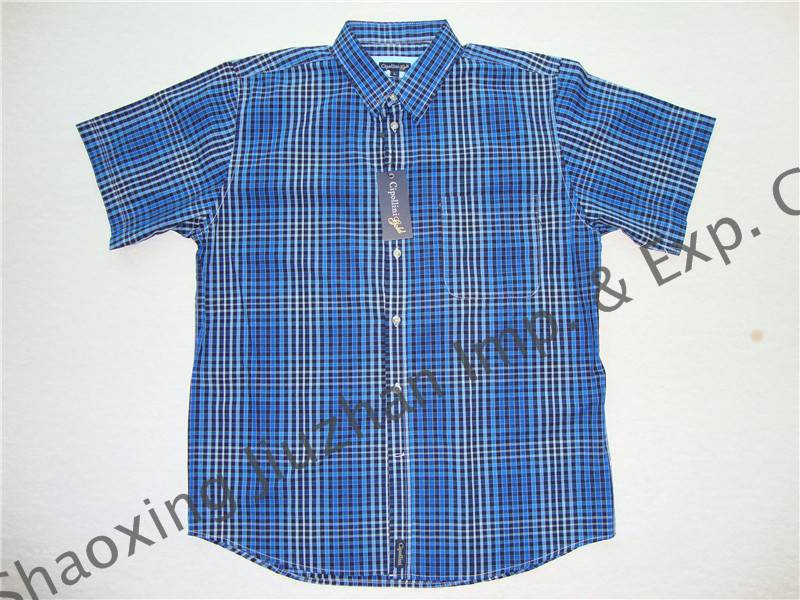 men's cotton yarn dyed check short sleeve shirts