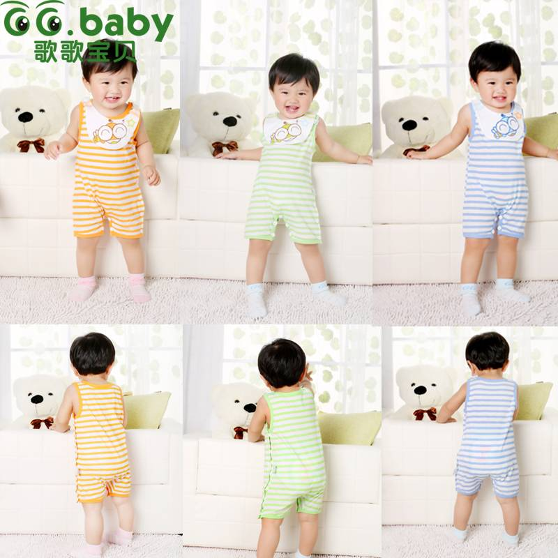 Sleeveless Cotton Newborn Baby Summer Clothing Unisex Animal Baby Boy Romper 3 Colors Jumpsuits