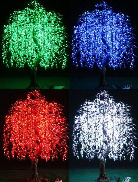 2592 led 2.5m high decorative outdoor lighted simulation willow tree light