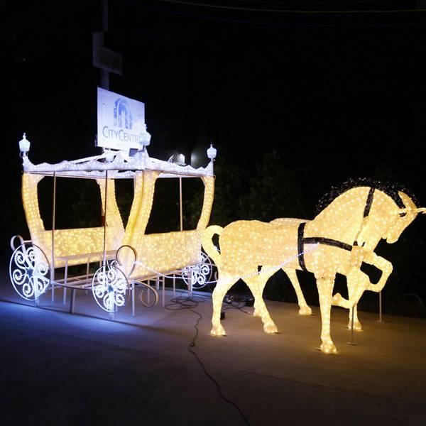 L:7m W:2m H:2m LED horse carriage 3d sculpture led Christmas lightslight