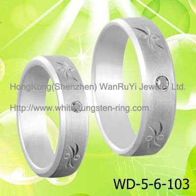 Couple's Lover's White Tungsten Rings for Gifts