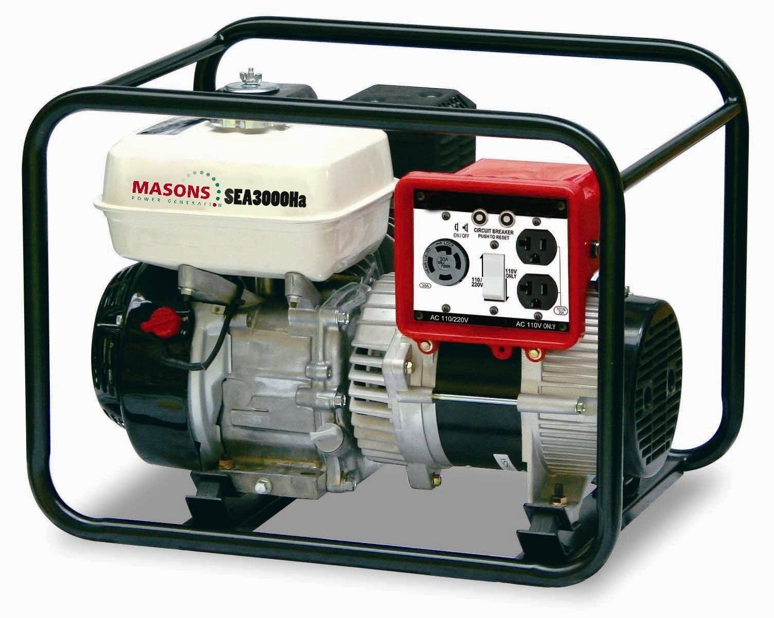 Masons 2800W 50/60Hz portable gasoline generators