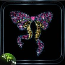 Colorful bow iron on rhinestone transfer designs