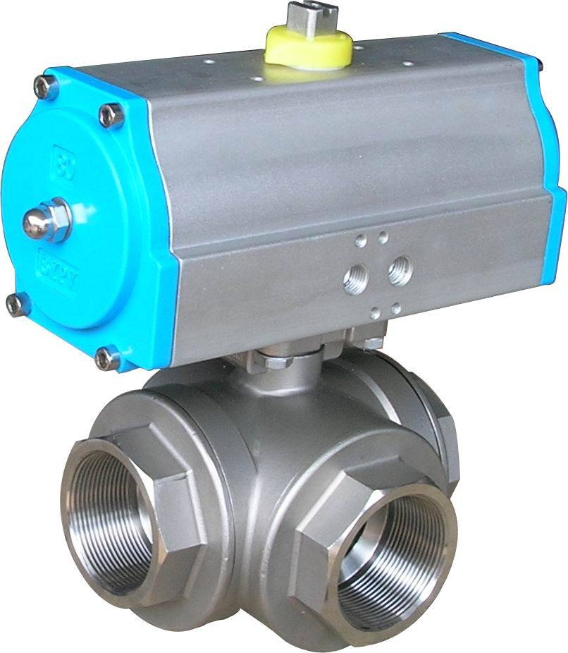 SS316 1/4FNPT 3 way female thread ball valve with pneumatic actuator