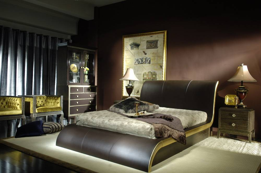 S Shaped Leather Bed with Gold Veined Bedside Cabinets