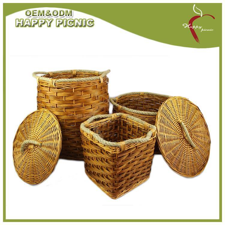 Wooden chip with jute rope handle storage basket