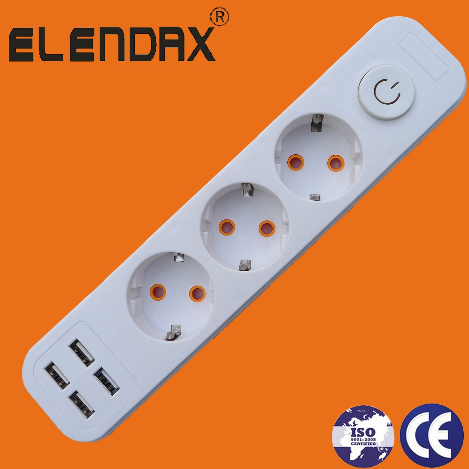 3 way extension socket with four USB port