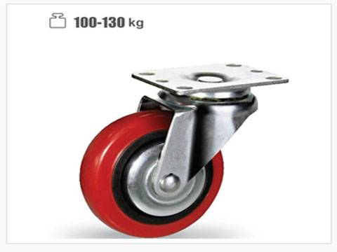 PP red PVC/PU double ball bearing caster