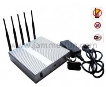 Wifi cell phone jammer 5 Band Cellphone WIFI Signal Jammer with Remote Control For Sale